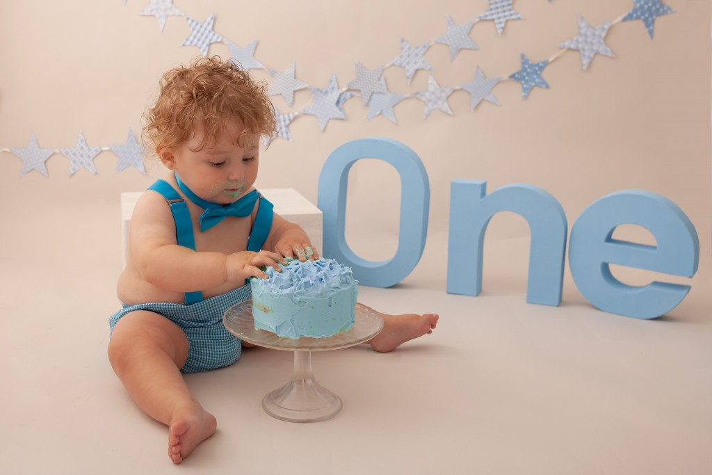 Baby boy first birthday cake smash Pontypridd